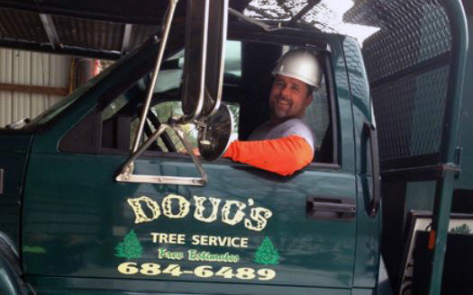 doug sitting in company truck